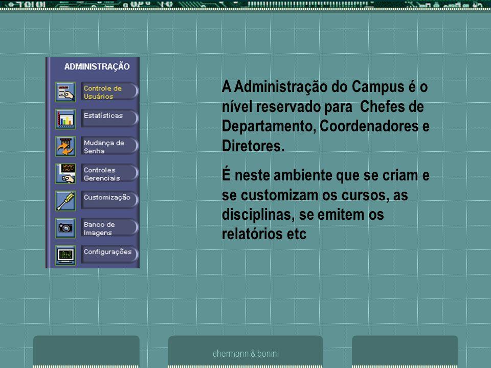 chermann & bonini A Administração do Campus é o nível reservado para Chefes de Departamento, Coordenadores e Diretores. É neste ambiente que se criam