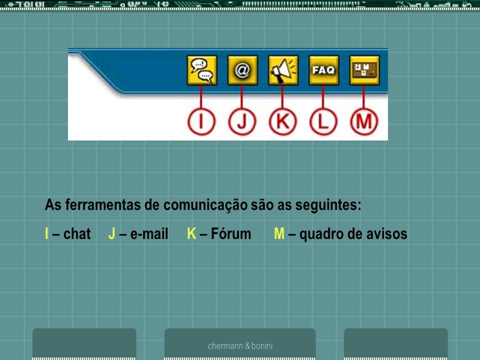 chermann & bonini As ferramentas de comunicação são as seguintes: I – chat J – e-mail K – Fórum M – quadro de avisos