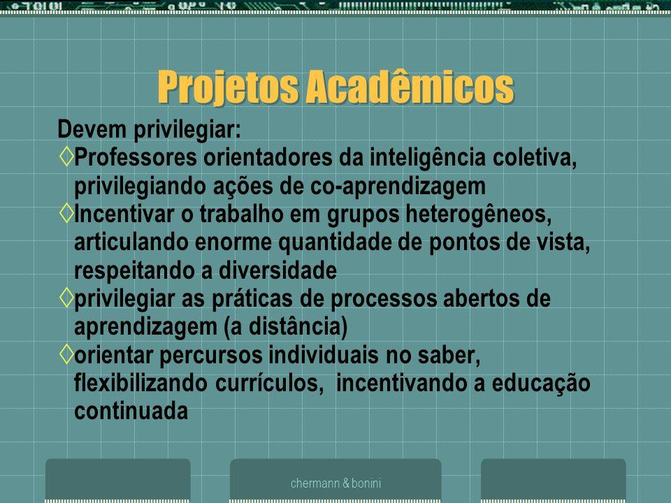 chermann & bonini Projetos Acadêmicos Devem privilegiar: Professores orientadores da inteligência coletiva, privilegiando ações de co-aprendizagem Inc