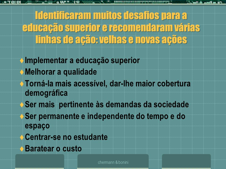 chermann & bonini LEGISLAÇÃO LDB 9394/96 art 80: programas de ensino a distância em todos os níveis Dec.