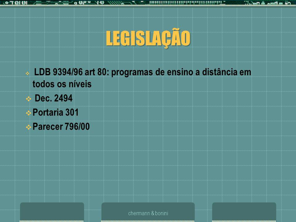 chermann & bonini LEGISLAÇÃO LDB 9394/96 art 80: programas de ensino a distância em todos os níveis Dec. 2494 Portaria 301 Parecer 796/00