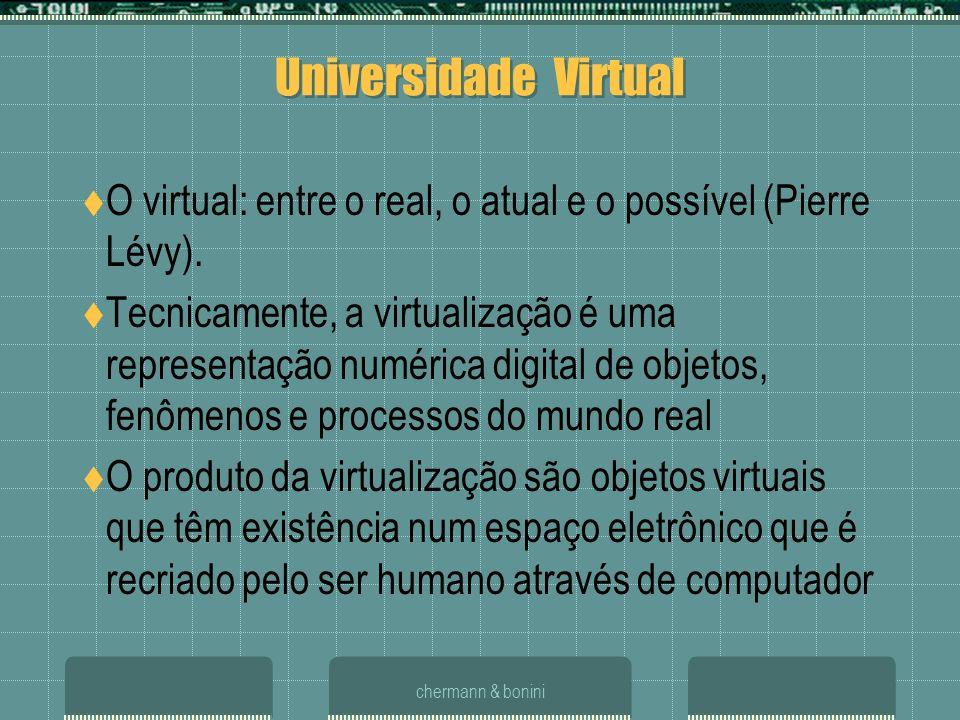 chermann & bonini Universidade Virtual O virtual: entre o real, o atual e o possível (Pierre Lévy). Tecnicamente, a virtualização é uma representação