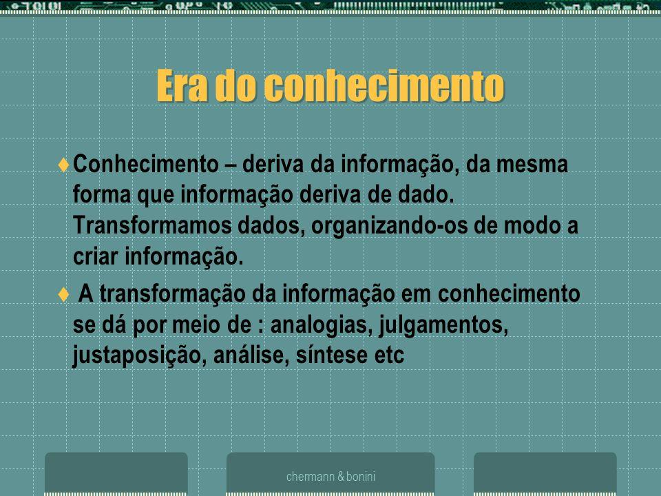 chermann & bonini Era do conhecimento Conhecimento – deriva da informação, da mesma forma que informação deriva de dado. Transformamos dados, organiza