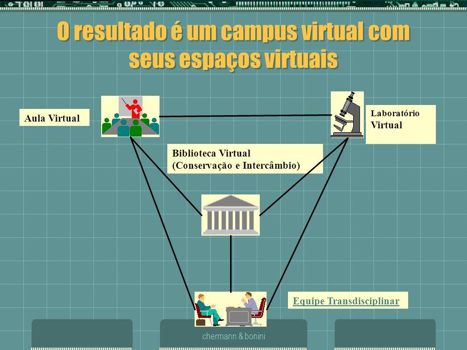 chermann & bonini O resultado é um campus virtual com seus espaços virtuais Aula Virtual Laboratório Virtual Biblioteca Virtual (Conservação e Intercâ