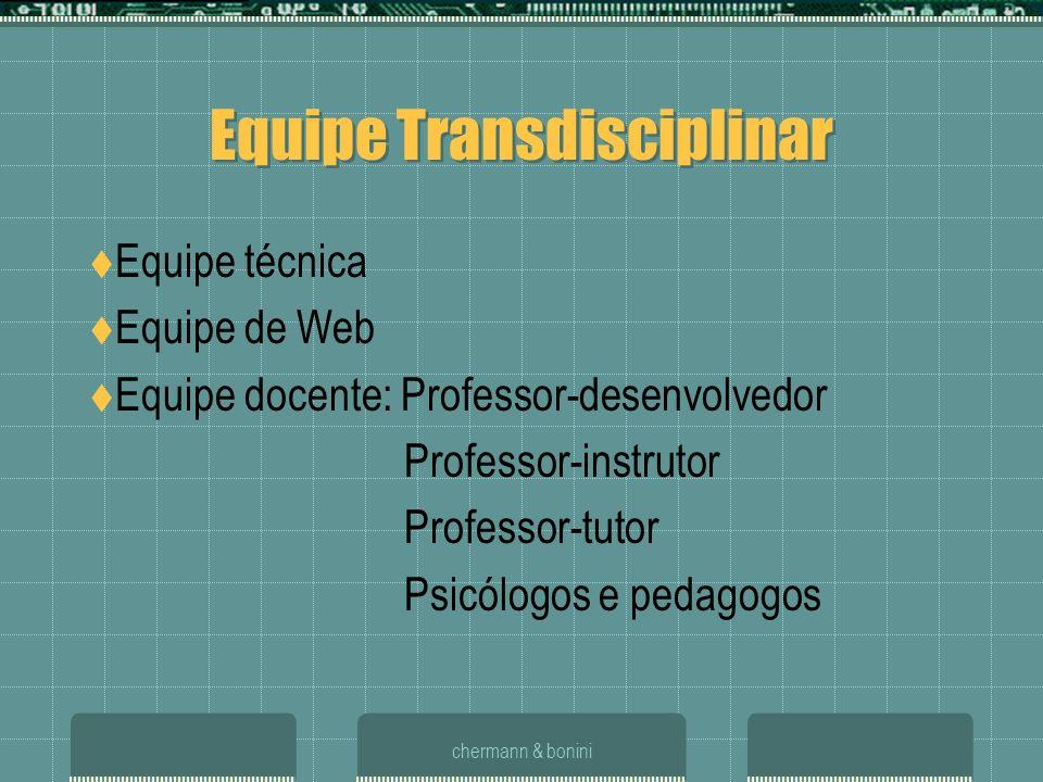 chermann & bonini Equipe Transdisciplinar Equipe técnica Equipe de Web Equipe docente: Professor-desenvolvedor Professor-instrutor Professor-tutor Psi