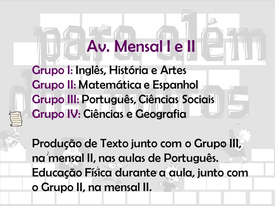 Av. Mensal I e II Grupo I: Inglês, História e Artes Grupo II: Matemática e Espanhol Grupo III: Português, Ciências Sociais Grupo IV: Ciências e Geogra