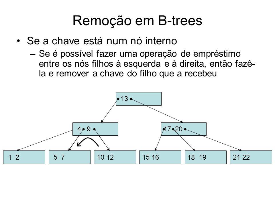 Remoção em B-trees Se a chave está num nó interno –Se é possível fazer uma operação de empréstimo entre os nós filhos à esquerda e à direita, então fa