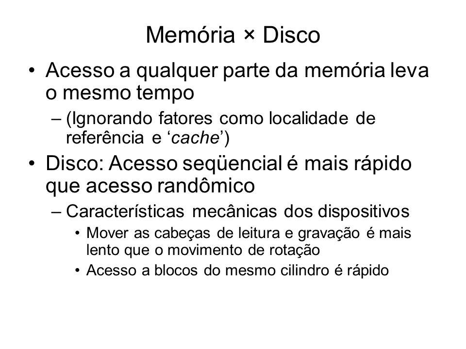 Memória × Disco Acesso a qualquer parte da memória leva o mesmo tempo –(Ignorando fatores como localidade de referência e cache) Disco: Acesso seqüenc