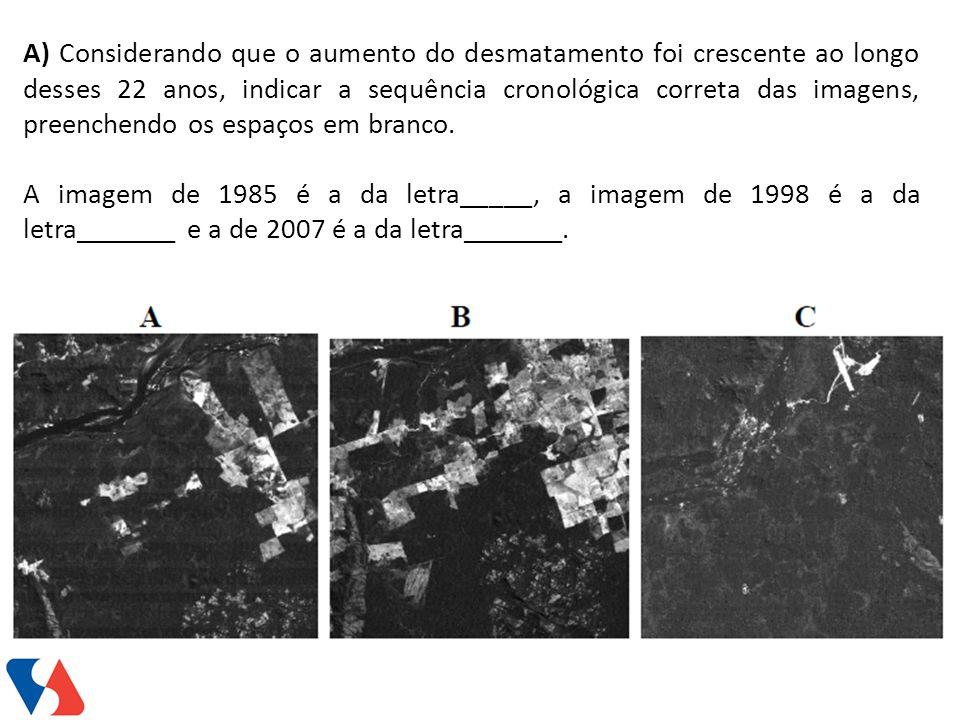 A) Considerando que o aumento do desmatamento foi crescente ao longo desses 22 anos, indicar a sequência cronológica correta das imagens, preenchendo