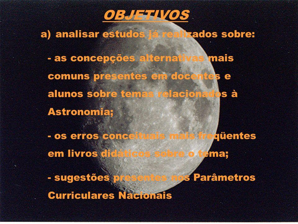 Os Parâmetros Curriculares Nacionais e o ensino de Astronomia Brasil (1997), Brasil (1998), Brasil (1999) Ciências naturais (que inclui Astronomia), visa a compreensão sobre o Universo, o espaço, o tempo, a matéria, o ser humano, a vida, seus processos e transformações.