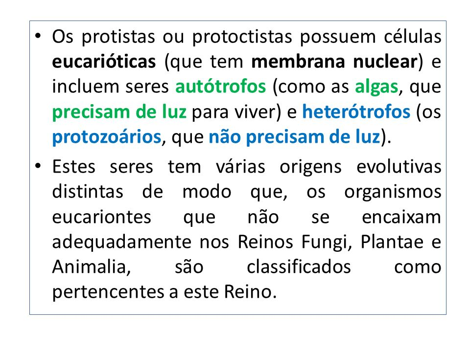 Os protistas ou protoctistas possuem células eucarióticas (que tem membrana nuclear) e incluem seres autótrofos (como as algas, que precisam de luz pa