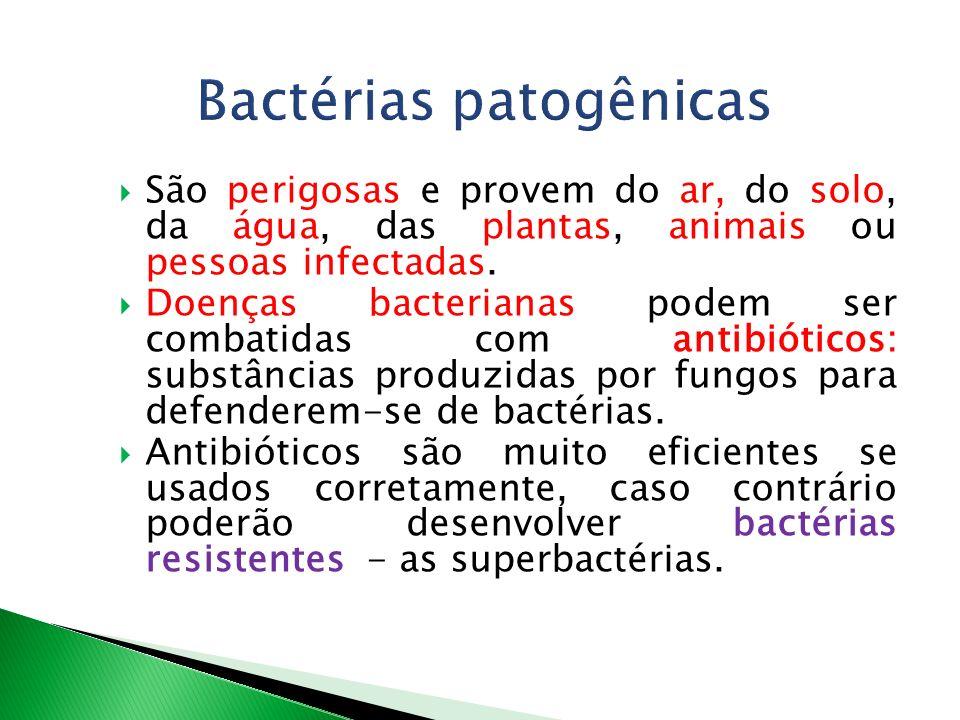 São perigosas e provem do ar, do solo, da água, das plantas, animais ou pessoas infectadas. Doenças bacterianas podem ser combatidas com antibióticos: