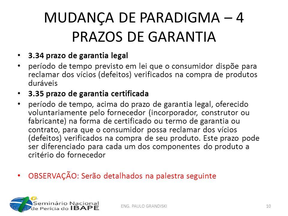 MUDANÇA DE PARADIGMA – 4 PRAZOS DE GARANTIA 3.34 prazo de garantia legal período de tempo previsto em lei que o consumidor dispõe para reclamar dos ví