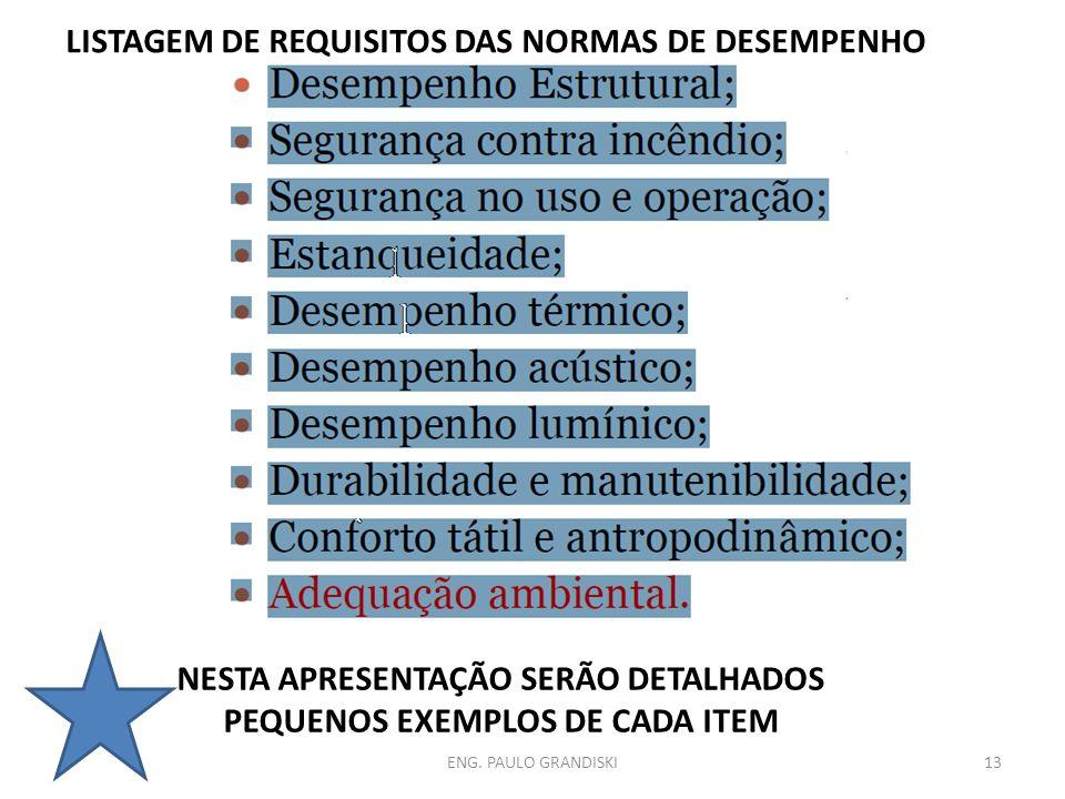 ENG. PAULO GRANDISKI13 LISTAGEM DE REQUISITOS DAS NORMAS DE DESEMPENHO NESTA APRESENTAÇÃO SERÃO DETALHADOS PEQUENOS EXEMPLOS DE CADA ITEM