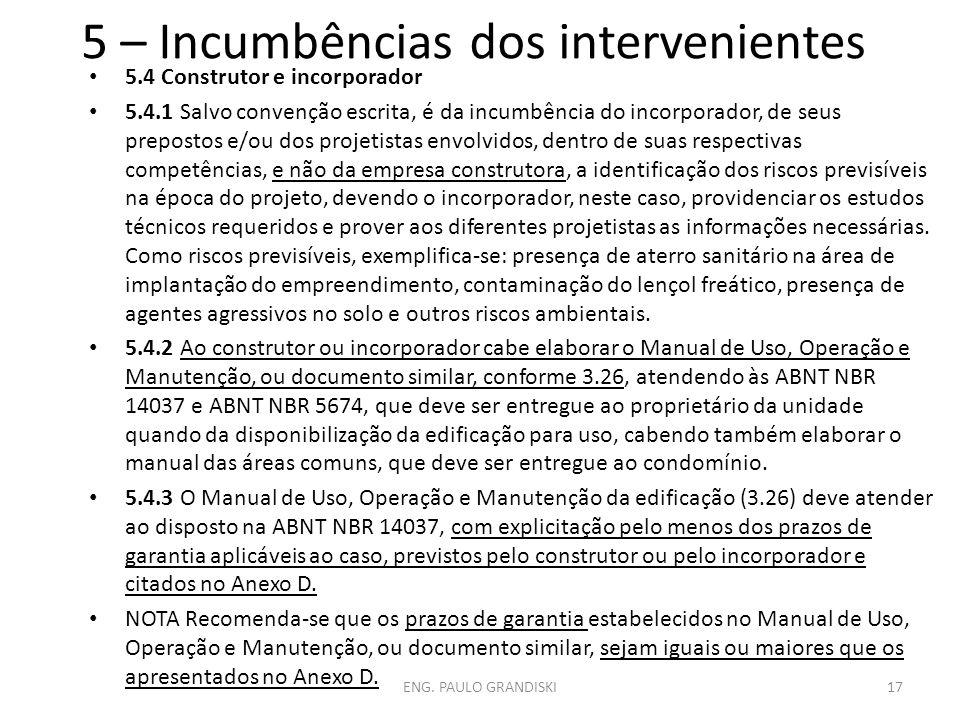 5 – Incumbências dos intervenientes 5.4 Construtor e incorporador 5.4.1 Salvo convenção escrita, é da incumbência do incorporador, de seus prepostos e