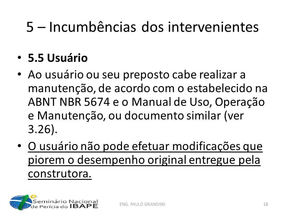 5 – Incumbências dos intervenientes 5.5 Usuário Ao usuário ou seu preposto cabe realizar a manutenção, de acordo com o estabelecido na ABNT NBR 5674 e