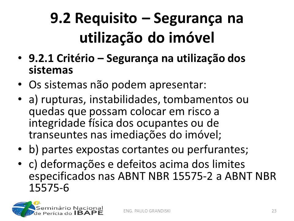 9.2 Requisito – Segurança na utilização do imóvel 9.2.1 Critério – Segurança na utilização dos sistemas Os sistemas não podem apresentar: a) rupturas,