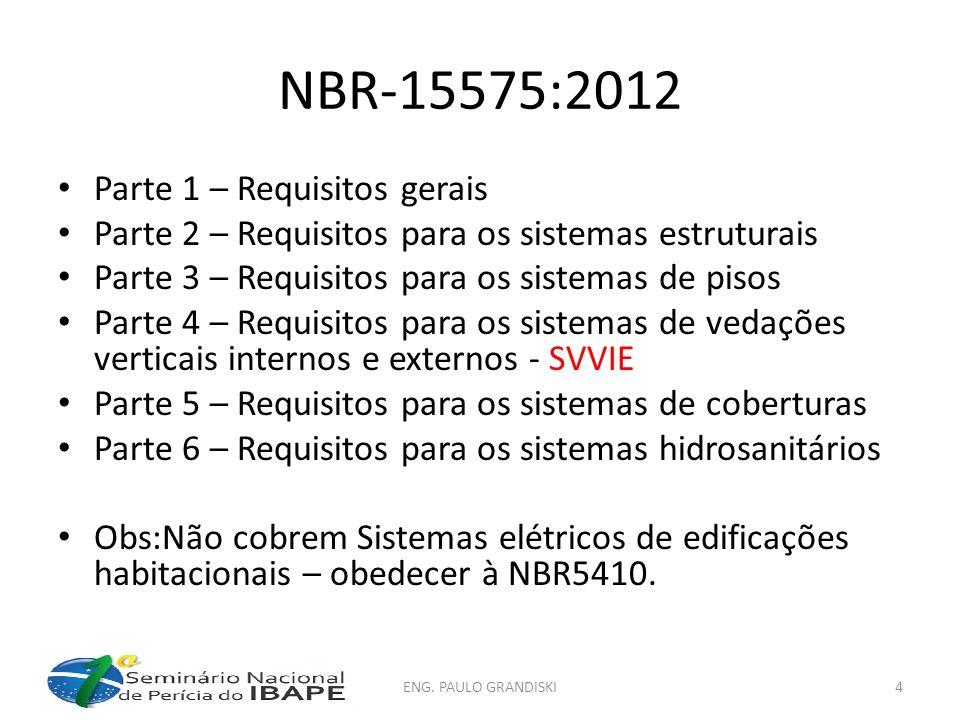 NBR15575-1 5 Incumbências dos intervenientes 5.1 Generalidades As incumbências técnicas de cada um dos intervenientes encontram-se estabelecidas em 5.2 a 5.5 e na ABNT NBR 5671:1990.