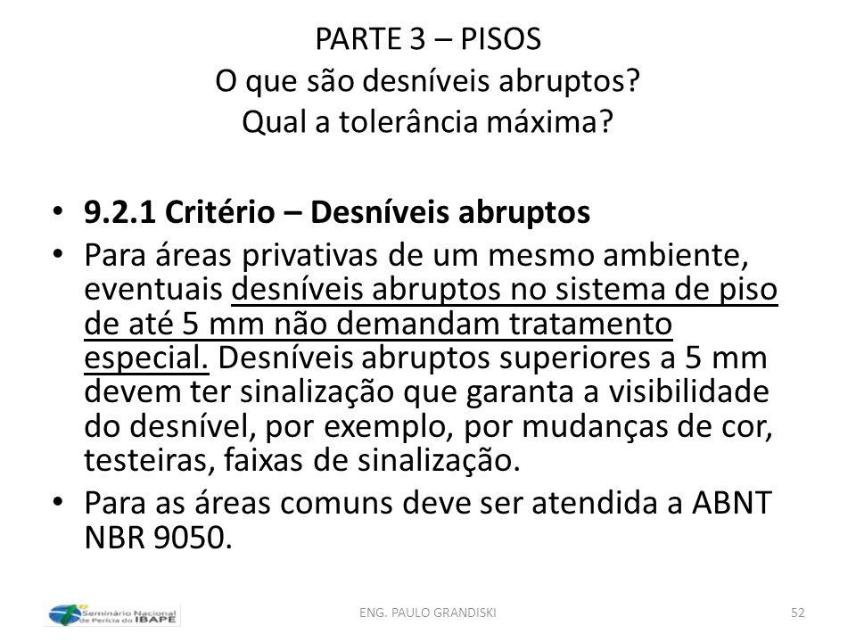 PARTE 3 – PISOS O que são desníveis abruptos? Qual a tolerância máxima? 9.2.1 Critério – Desníveis abruptos Para áreas privativas de um mesmo ambiente