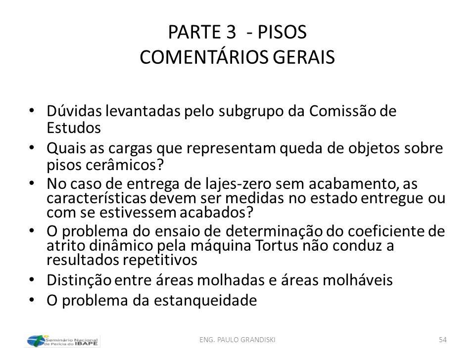 PARTE 3 - PISOS COMENTÁRIOS GERAIS Dúvidas levantadas pelo subgrupo da Comissão de Estudos Quais as cargas que representam queda de objetos sobre piso