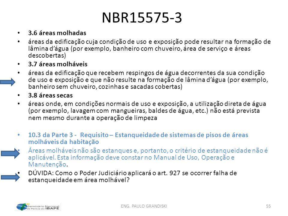 NBR15575-3 3.6 áreas molhadas áreas da edificação cuja condição de uso e exposição pode resultar na formação de lâmina dágua (por exemplo, banheiro co