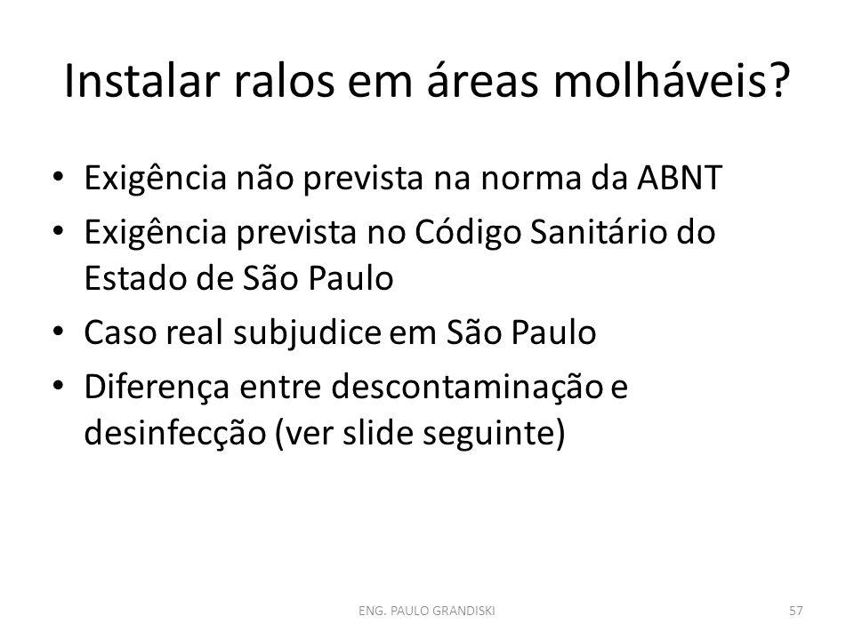 Instalar ralos em áreas molháveis? Exigência não prevista na norma da ABNT Exigência prevista no Código Sanitário do Estado de São Paulo Caso real sub