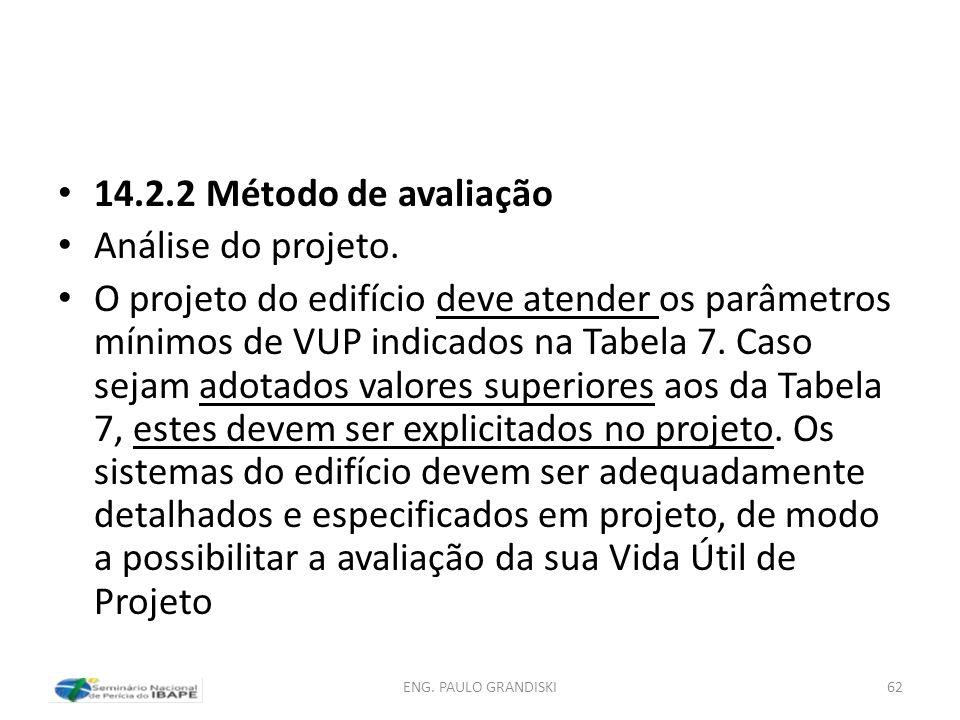 14.2.2 Método de avaliação Análise do projeto. O projeto do edifício deve atender os parâmetros mínimos de VUP indicados na Tabela 7. Caso sejam adota