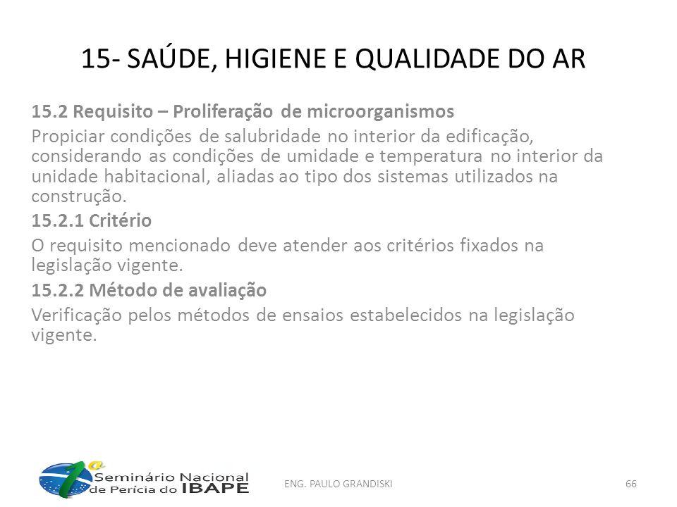 15- SAÚDE, HIGIENE E QUALIDADE DO AR 15.2 Requisito – Proliferação de microorganismos Propiciar condições de salubridade no interior da edificação, co