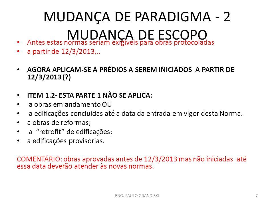 MUDANÇA DE PARADIGMA -3 FICAM EXPLICITADAS AS DIFERENÇAS ENTRE NORMAS DE DESEMPENHO E PRESCRITIVAS 3.30 NORMAS DE DESEMPENHO: perspectiva de desempenho, em que se define o resultado 3.31 NORMAS PRESCRITIVAS: abordagem de prescrição, em que se define a solução ITEM 6.6.1 da PARTE 1: Quando uma Norma Brasileira requerida contiver requisitos suplementares a esta Norma, eles devem ser integralmente atendidos.