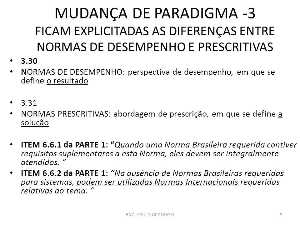 MUDANÇA DE PARADIGMA -3 FICAM EXPLICITADAS AS DIFERENÇAS ENTRE NORMAS DE DESEMPENHO E PRESCRITIVAS 3.30 NORMAS DE DESEMPENHO: perspectiva de desempenh