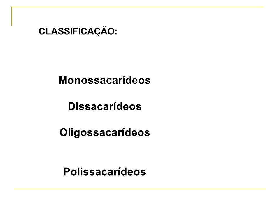 Monossacarídeos Dissacarídeos Oligossacarídeos Polissacarídeos CLASSIFICAÇÃO:
