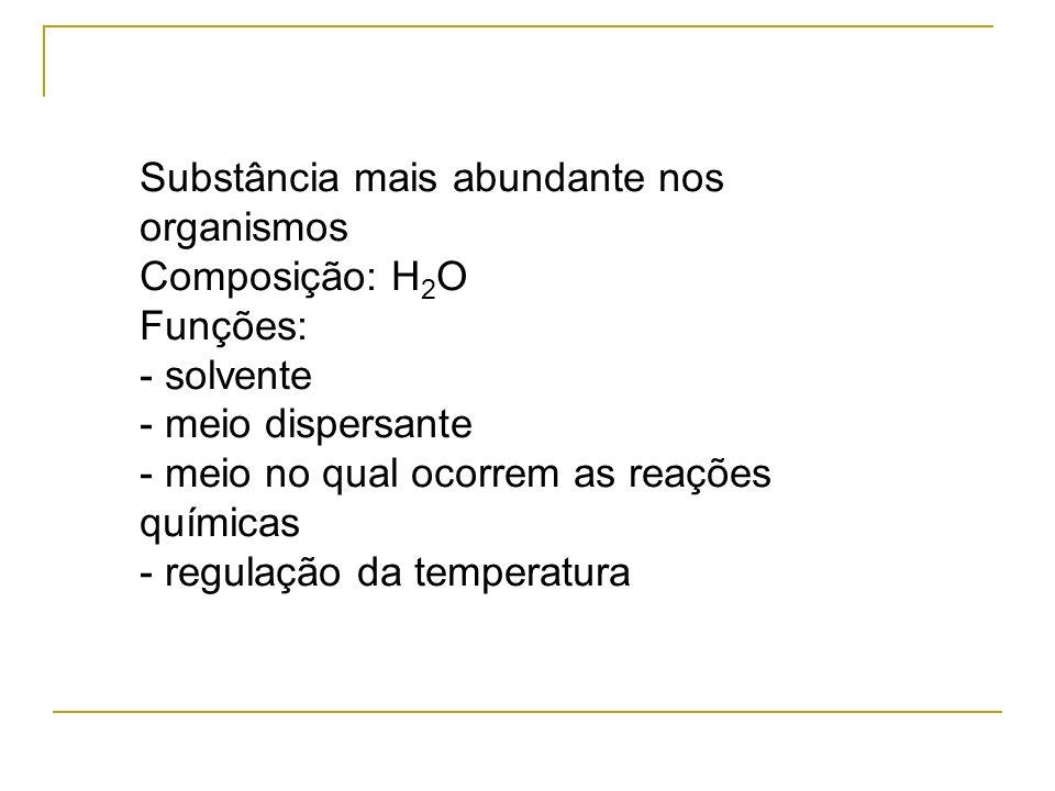 Substância mais abundante nos organismos Composição: H 2 O Funções: - solvente - meio dispersante - meio no qual ocorrem as reações químicas - regulaç