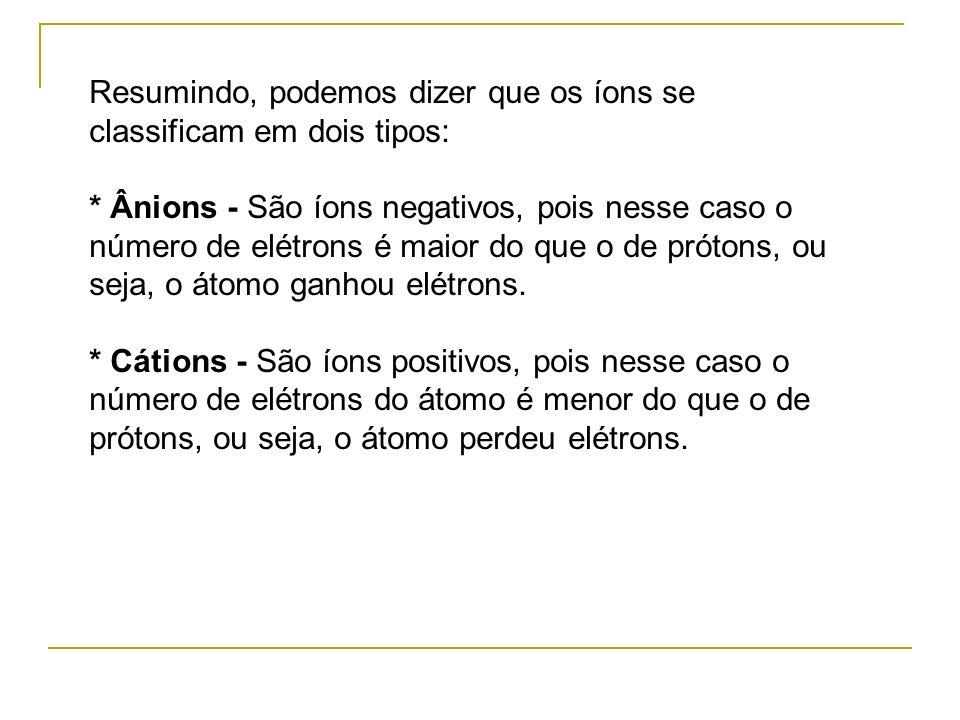 Resumindo, podemos dizer que os íons se classificam em dois tipos: * Ânions - São íons negativos, pois nesse caso o número de elétrons é maior do que