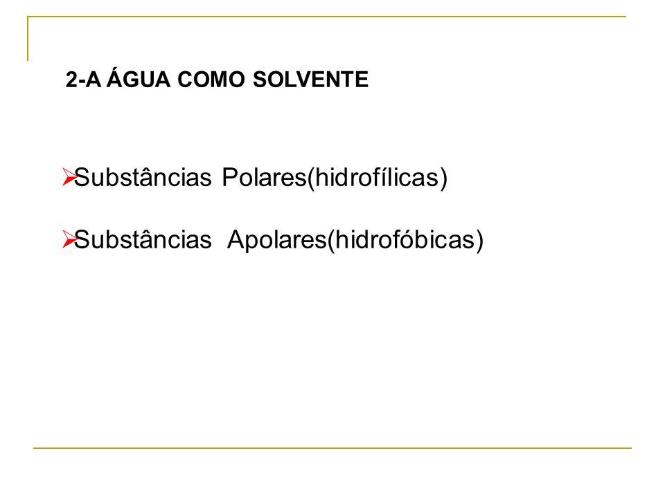 2-A ÁGUA COMO SOLVENTE Substâncias Polares(hidrofílicas) Substâncias Apolares(hidrofóbicas)