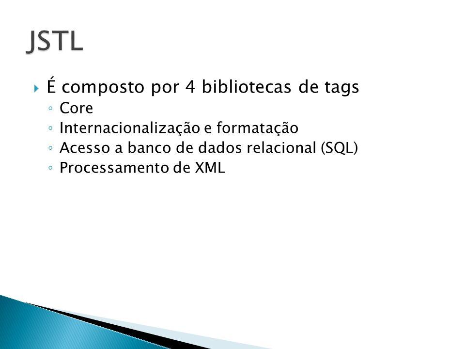 É composto por 4 bibliotecas de tags Core Internacionalização e formatação Acesso a banco de dados relacional (SQL) Processamento de XML