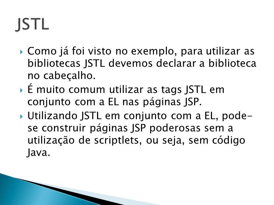 Como já foi visto no exemplo, para utilizar as bibliotecas JSTL devemos declarar a biblioteca no cabeçalho. É muito comum utilizar as tags JSTL em con