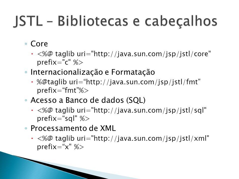 Core Internacionalização e Formatação %@taglib uri=http://java.sun.com/jsp/jstl/fmt prefix=fmt%> Acesso a Banco de dados (SQL) Processamento de XML