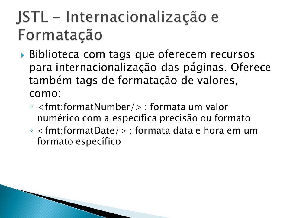 Biblioteca com tags que oferecem recursos para internacionalização das páginas. Oferece também tags de formatação de valores, como: : formata um valor