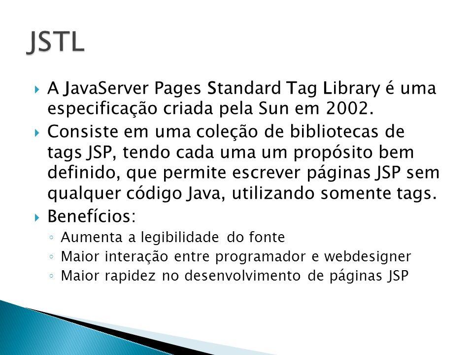 Originalmente a implementação de referência da JSTL foi fornecida pelo projeto Apache Jakarta, e está disponível para download em http://jakarta.apache.org/taglibs http://jakarta.apache.org/taglibs Deve-se fazer o download, descompactar o arquivo e copiar os arquivos jstl.jar e standard.jar para o diretório WEB-INF/lib do projeto no Eclipse OBS: algumas versões do Tomcat possuem estes arquivos no diretório webapps\examples\WEB- INF\lib, ou no diretório Lib