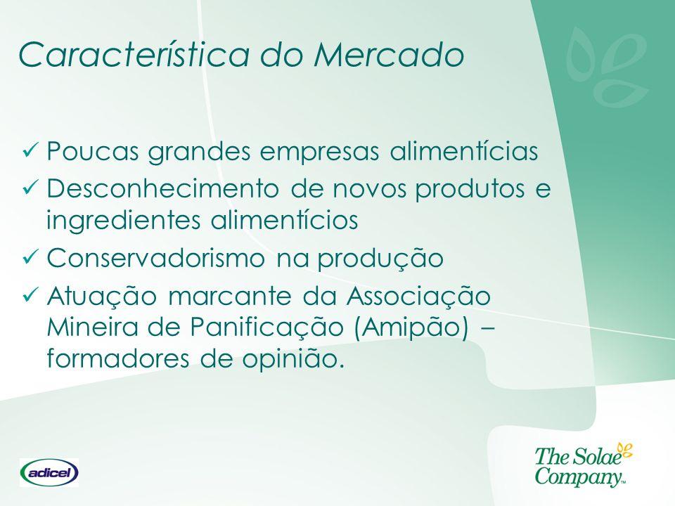 Característica do Mercado Poucas grandes empresas alimentícias Desconhecimento de novos produtos e ingredientes alimentícios Conservadorismo na produç