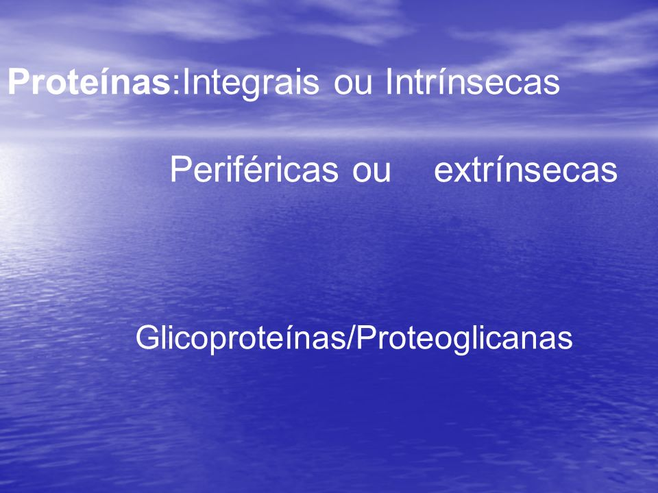 Proteínas:Integrais ou Intrínsecas Periféricas ou extrínsecas Glicoproteínas/Proteoglicanas