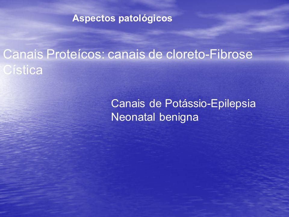 Canais Proteícos: canais de cloreto-Fibrose Cística Aspectos patológicos Canais de Potássio-Epilepsia Neonatal benigna