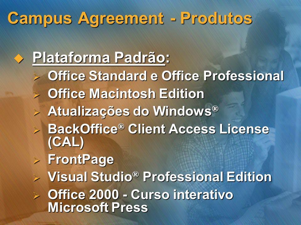 Campus Agreement - Produtos Plataforma Padrão: Plataforma Padrão: Office Standard e Office Professional Office Standard e Office Professional Office M