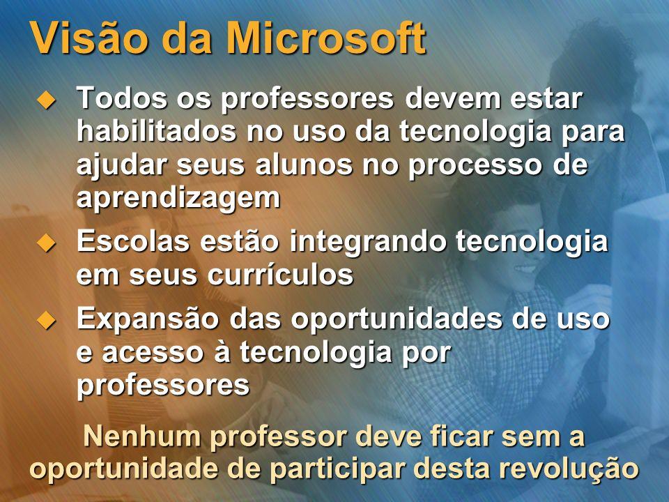 Visão da Microsoft Todos os professores devem estar habilitados no uso da tecnologia para ajudar seus alunos no processo de aprendizagem Todos os prof