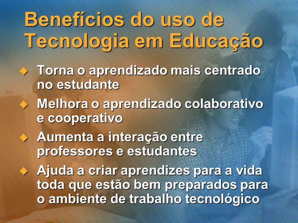 Benefícios do uso de Tecnologia em Educação Torna o aprendizado mais centrado no estudante Torna o aprendizado mais centrado no estudante Melhora o ap