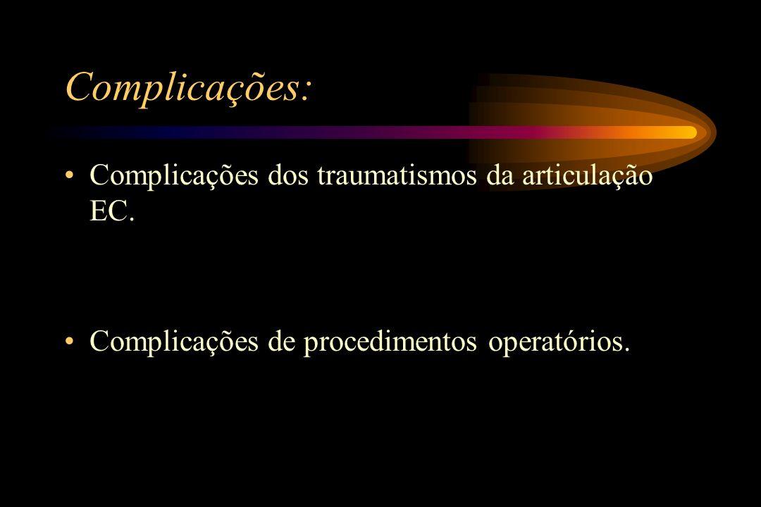 Complicações: Complicações dos traumatismos da articulação EC. Complicações de procedimentos operatórios.
