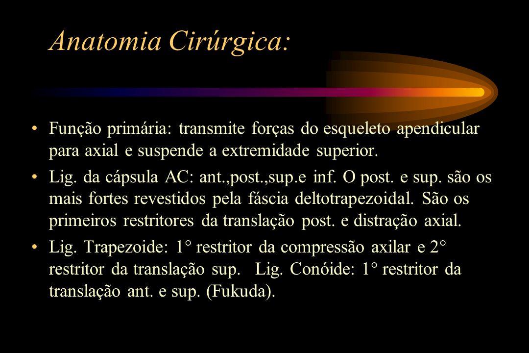 Anatomia Cirúrgica: Função primária: transmite forças do esqueleto apendicular para axial e suspende a extremidade superior. Lig. da cápsula AC: ant.,