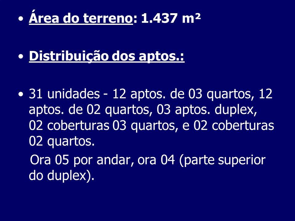 Área do terreno: 1.437 m² Distribuição dos aptos.: 31 unidades - 12 aptos. de 03 quartos, 12 aptos. de 02 quartos, 03 aptos. duplex, 02 coberturas 03
