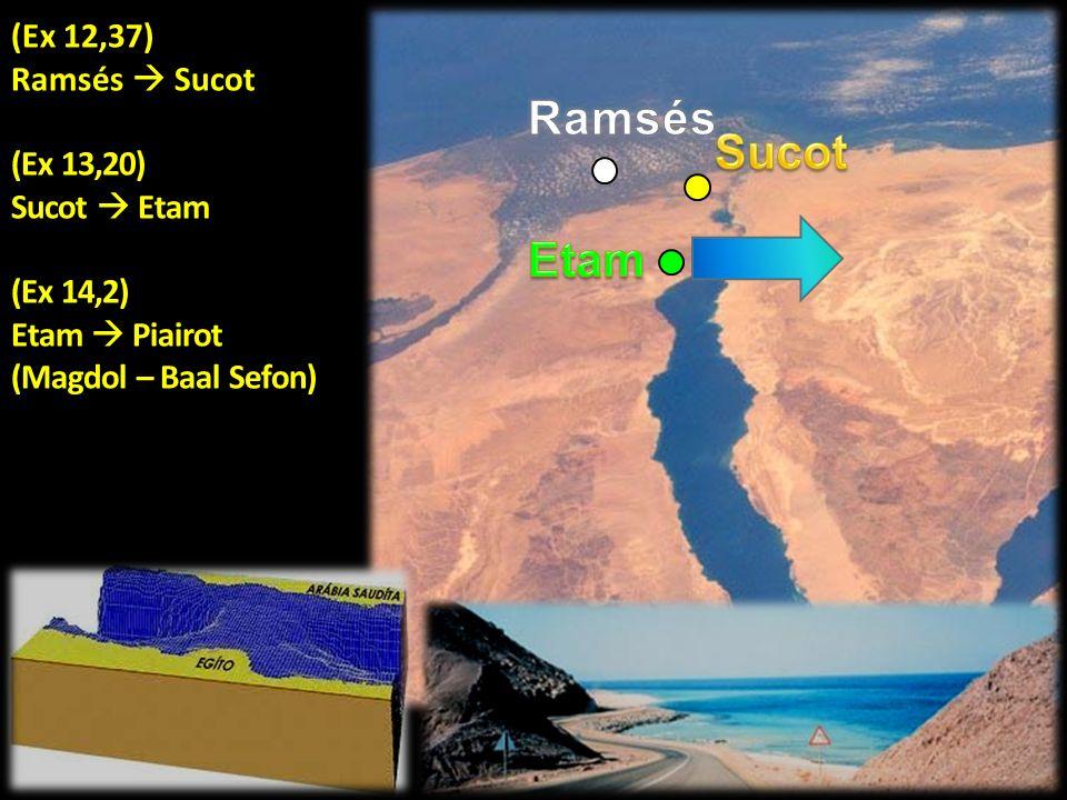 (Ex 12,37) Ramsés Sucot (Ex 13,20) Sucot Etam (Ex 14,2) Etam Piairot (Magdol – Baal Sefon)