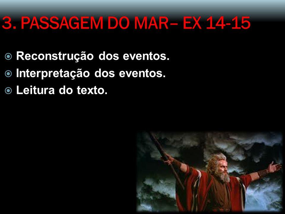3. PASSAGEM DO MAR– EX 14-15 Reconstrução dos eventos. Interpretação dos eventos. Leitura do texto.